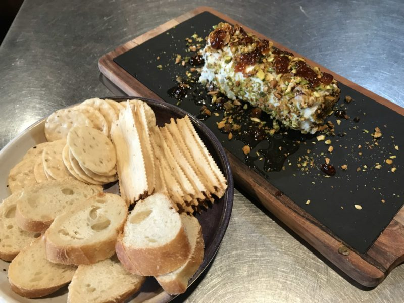 Honey Pistachio Goat Cheese and Cracker included at Good Medicine Lodge