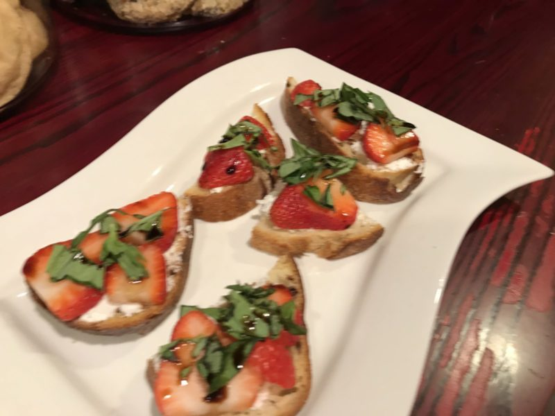 Strawberry Goat Cheese Basil Balsamic Toast Appetizer Included at Good Medicine Lodge
