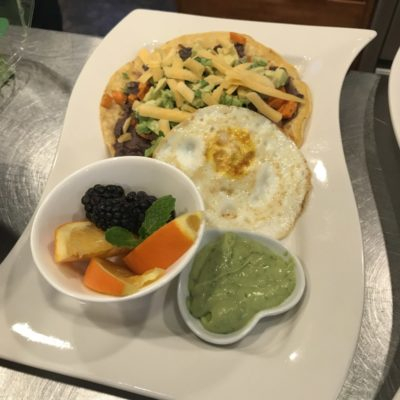 Sweet Potato Avocado Egg and Bean Tostada at Good Medicine Lodge Whitefish Montana