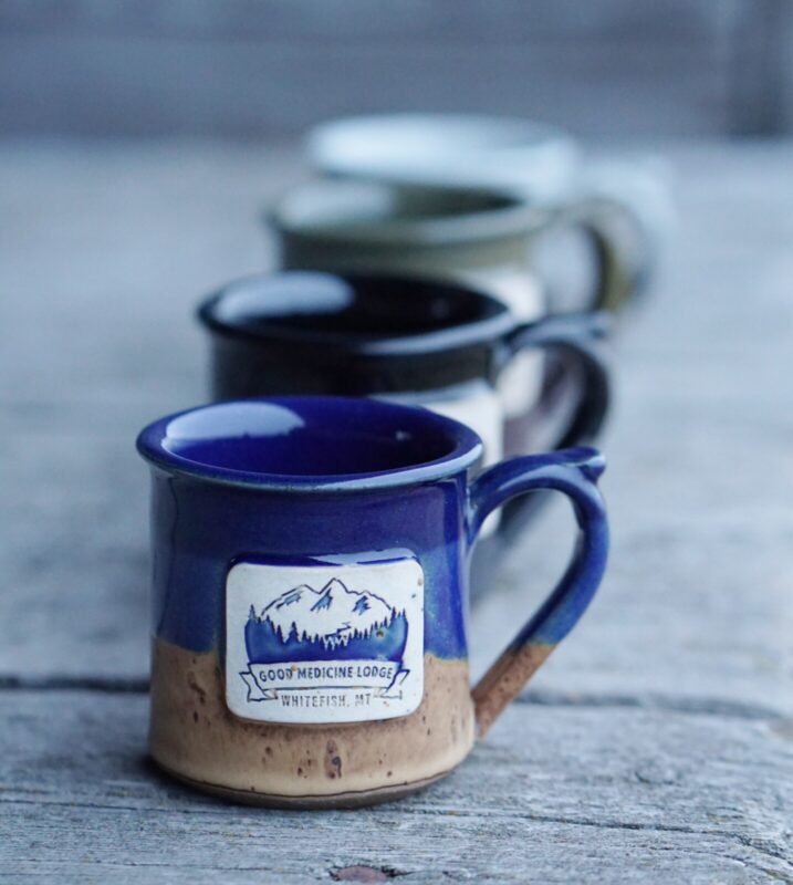 Good Medicine Lodge Logo Mugs Whitefish Montana