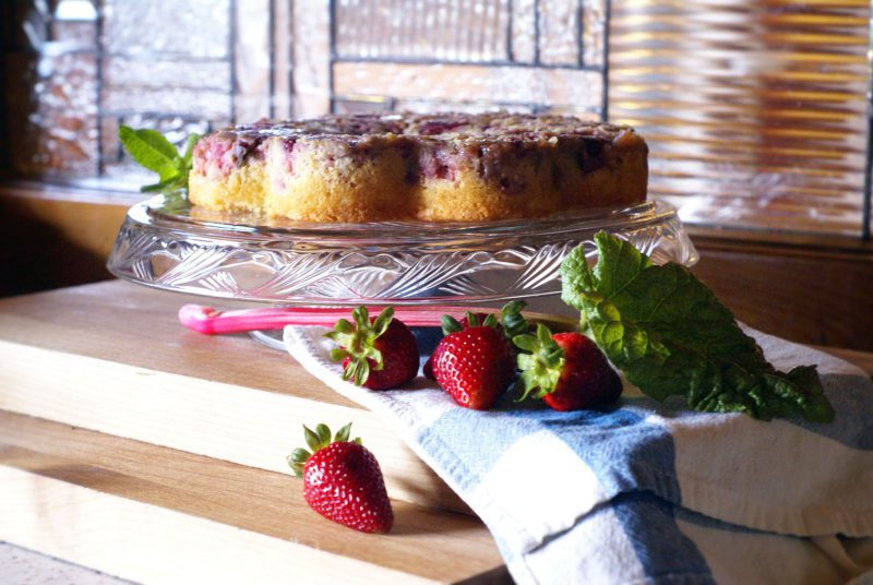 Strawberry Rhubarb Upside Cake Good Medicine Lodge Bed and Breakfast Whitefish Montana