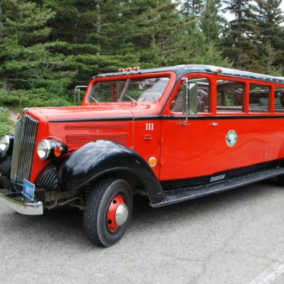 Red Jammer Bus Tour in Glacier National Park Montana Whitefish Good Medicine Lodge